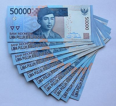 (10) Ten Indonesian 50000 Rupiah Consecutive Numbers Crisp Unc   50,000 IDR