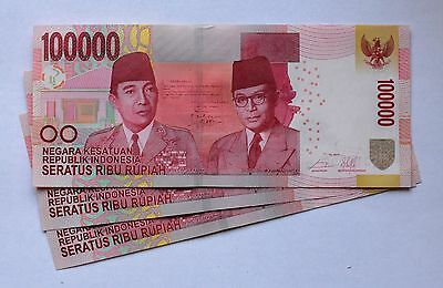 (3) Three Indonesian 100000 Rupiah Consecutive Numbers Crisp Unc   100,000 IDR