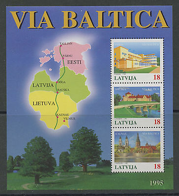 Baltic Highway Project mnh souvenir sheet of 3 stamps 1995 Latvia #395 map