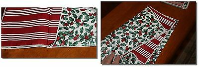 Longaberger Reversible Holly Berry Stripe Fabric Square 24 inches