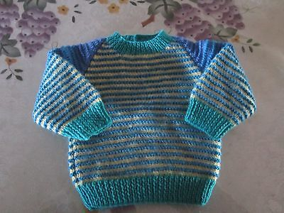 Baby Jumper Hand Knitted - Blue, Aqua & Lemon Strips-100% Acrylic- 3 to 6 Months