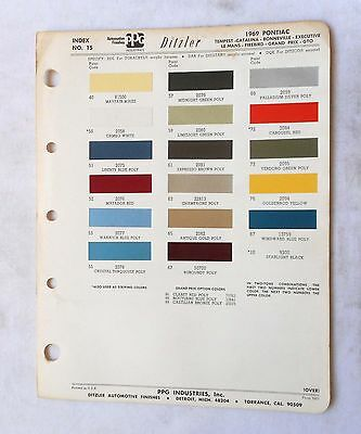 1969  Pontiac Ppg Color Paint Chip Chart All Models Original Gm Gto