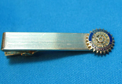 Vintage Rotary Charter Member Blue Enamel Gold Filled Tie Bar Clip Clasp Tanner