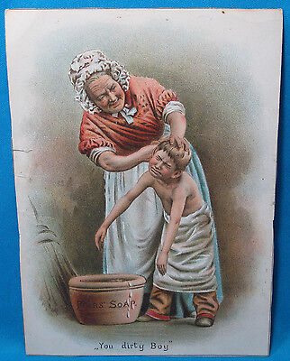 Vintage Pears Soap You Dirty Boy Advertising Victorian Trade Lithograph Card