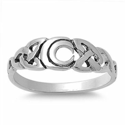 925 Sterling Silver Ring Celtic Moon Trinity Triquetra Triad Knot Size 9 New p46