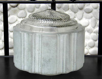 Classic art deco frosted and clear glass Empire Skyscraper ceiling light shade