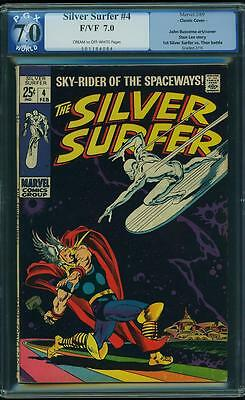 SILVER SURFER #4 PGX 7.0 (Like CGC) - 1969, Classic Surfer vs Thor Battle Cover