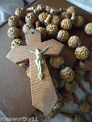 French antique vintage old carved wooden rosary beads with wood cross France
