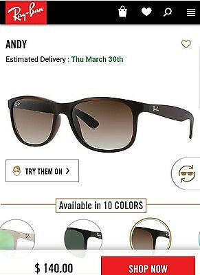 5d6228ace3314 NEW RAY-BAN ANDY RB4202 714 71-55 Sunglass Green Gradient Lens MSRP ...