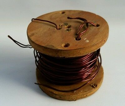 Vintage Part Roll Of Copper Woven Antenna Wire on Wooden Spool Radio WW2