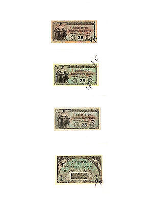 """United States"" Military Payment Certificate Lot Of 4 Notes Series 481 - Used"