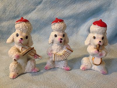 Vintage Porcelain French Poodles Playing Instruments Set Of 3 Figurines