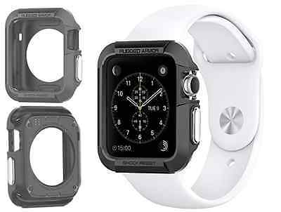 New Rugged Armor Apple Watch Case Resilient Shock Screen Protectors 38mm  Black