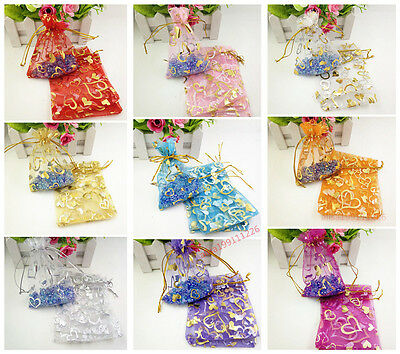 50/100pcs Organza Jewelry Pouch Bags Wedding Party Favor Gift Candy Bag 9x12cm