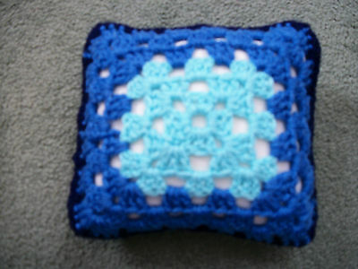 Mini Crochet Square Cushion/Pillow,Dolls house,Pincushion,Decorative,Blue,5.5""