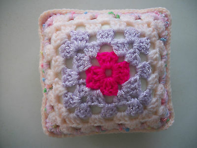 Mini Crochet Square Cushion/Pillow,Dolls house,Pincushion,Decorative,Pink,5""