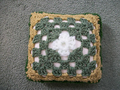 Mini Crochet Square Cushion/Pillow,Dolls house,Pincushion,Decorative,Green,5.5""