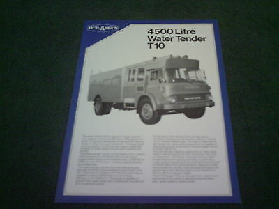 1980s HCB ANGUS BEDFORD T10 WATER TENDER FIRE ENGINE UK SINGLE SHEET - BROCHURE