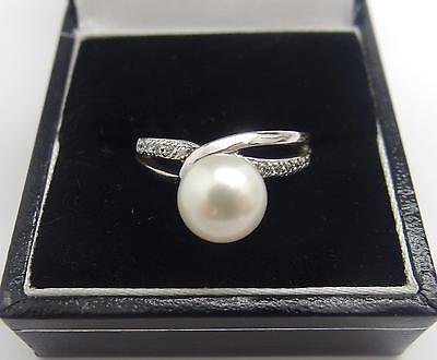 Womens 925 Sterling Silver White freshwater Cultured Pearl Ring Size N 7 US #8