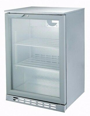 Beerkool Budget Silver Underbench Lockable Single Glass Door Alfresco Fridge NEW