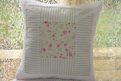 Cushion Cover - Shabby Rose with green and white stripe