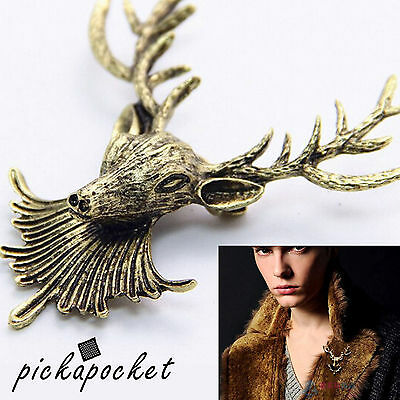 Stag Head Lapel Brooch Bust Head Deer Antler Aged Bronze Party Fashion Pin Badge