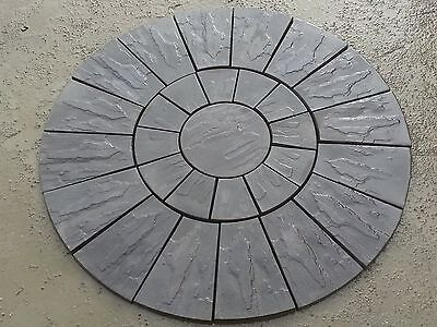 Stone Concrete Circle Patio Paving Set 1.8 Meters Charcoal