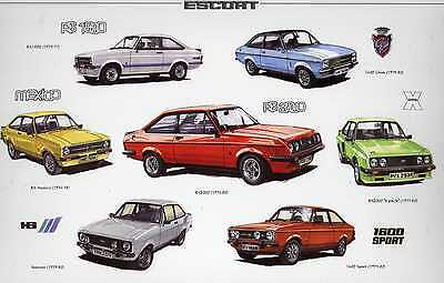 FORD ESCORT Mk 2 THE PERFORMERS--MEXICO /RS /HARRIER-- CAR ART PRINT