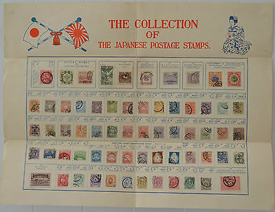 Collection of the Japanese Postage Stamps 1876-1930 Tourist Sheet 60 plus stamps