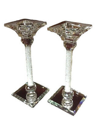 NEW Pair of Crystal Cut Candle Stick Holder Swarovski Elements With Box Two UK