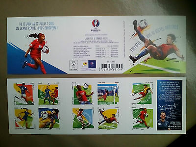 france  carnet 10 timbres  collector neuf football  euro 2016 foot french stamp