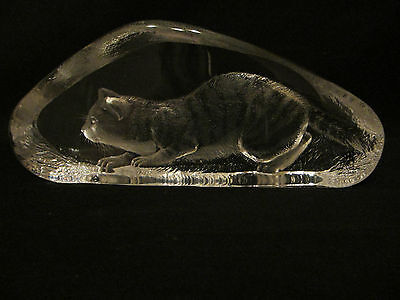 Mats Jonasson Lead Crystal Glass Cat Fully Signed & Numbered Perfect Condition