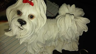 white dog, long haired, yorkie?, shih tzu ?, resin statue