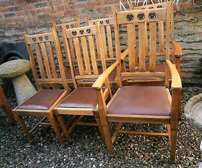 Arts & Crafts Oak Dining Chairs x 6.