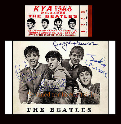 Signed Beatles Fan Card PLUS Concert Ticket Candlestick Park San Fran 1966 USA