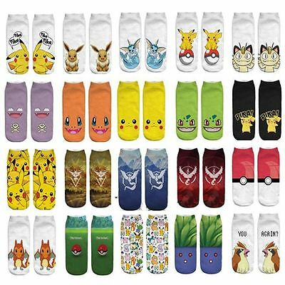 Muti-types Cartoon Women Kids Short Socks Anime Pikachu Pocket Monsters Go