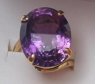 VINTAGE 1960's HUGE HEAVY 18ct GOLD AMETHYST COCKTAIL RING - 13g -SZ P