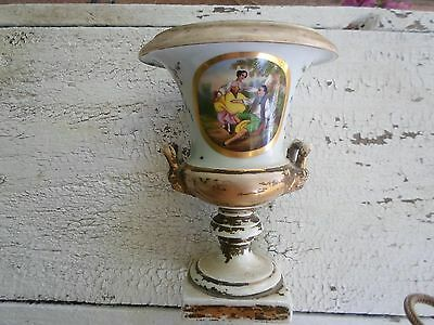 White And Gold Vintage Porcelain French Urn With Romantic Scene Signed
