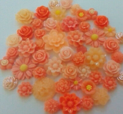 15x mixed orange and peach flower cabochons Embellishments, gems