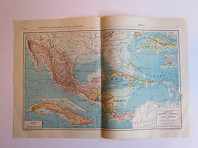 Antique Hundred Year Old Atlas Map Of Mexico,Central America & West Indies, 1911
