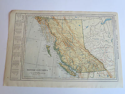 Antique Hundred Year Old Atlas Map Of British Columbia & Alberta, Printed 1912.