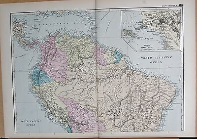 1890 Large Victorian Map - South America North, Inset Environs Of Lima, Callao