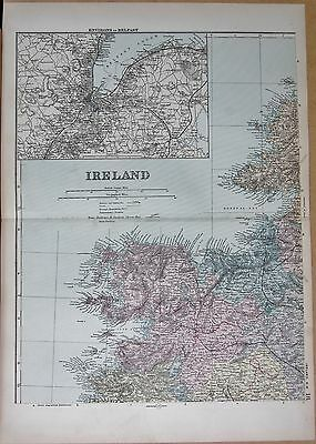 1890 Large Victorian Map - Ireland North West, Environs Of Belfast