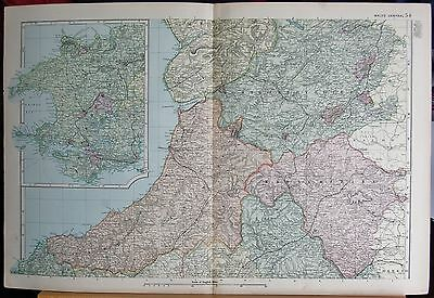 1896 Large Victorian Map- Wales Central
