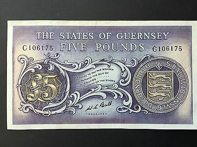 Guernsey Five 5 Pounds P46c Signed Bull Serial Number C106175 Date 1969 EF+ aUNC