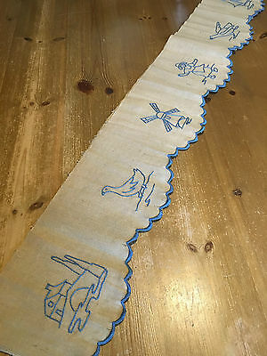 French Vintage Embroidered Shelf Runner in Rustic Style