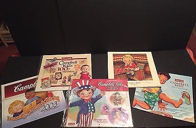 Lot of 5 Campbell Soup Kids Collectible Calendars for Framing or Crafts