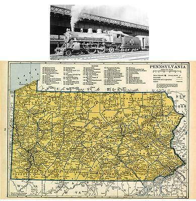 A 1939 Pennsylvania  Railroad Map Shows All Rr Depots Towns +Erie Rr Print