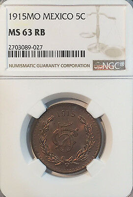 1915 MO MS63 RB Mexico 5 Centavos NGC 665 Registry Points Scarce grade date