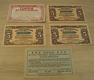 VTG ca 1930's COUPONS/Merchandise Certificate~Topps/Wrigley GUM/Hosiery~